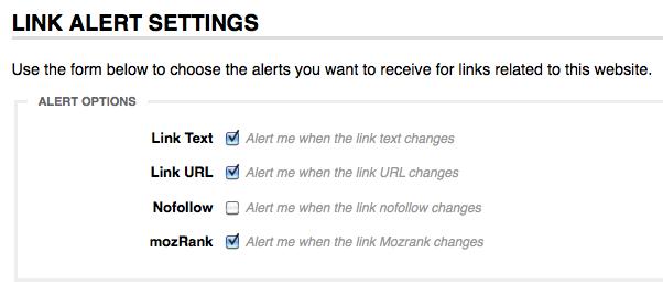 Link Alert Settings