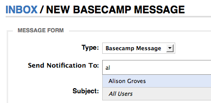 New Basecamp Message