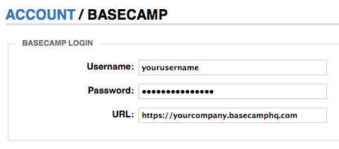 Basecamp Settings Page
