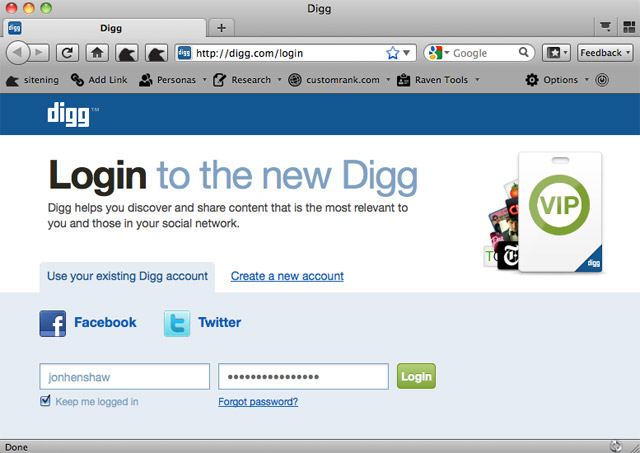 Digg Login Page