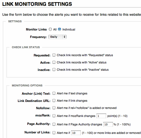 Link Monitor Settings