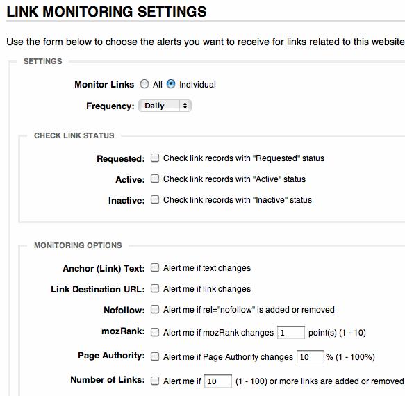 Link Monitor Settings