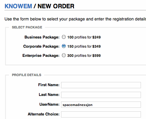 KnowEm Order Form