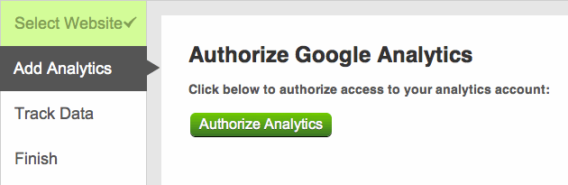 Authorize Google Analytics