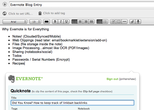 Blog note saved in Evernote