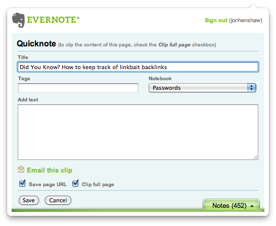 Google Chrome Evernote Extension