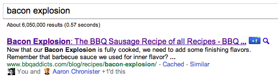 Bacon Explosion +1 Search Result