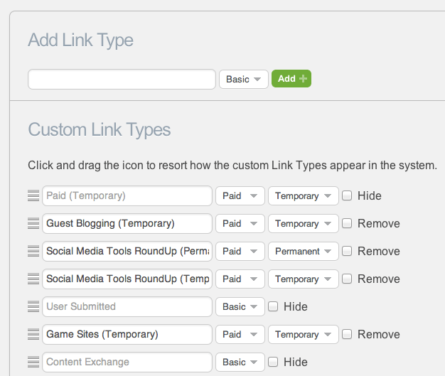 Custom Link Type Management