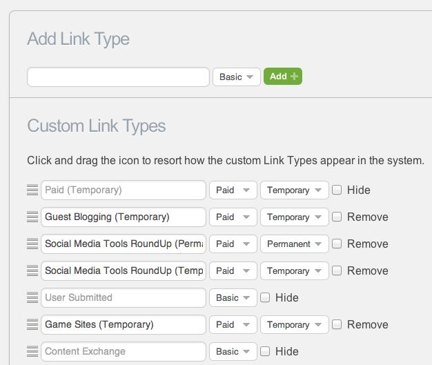 Custom Link Type Management