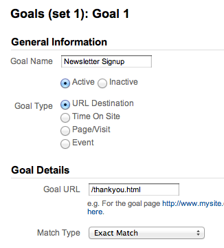 Goal Setup