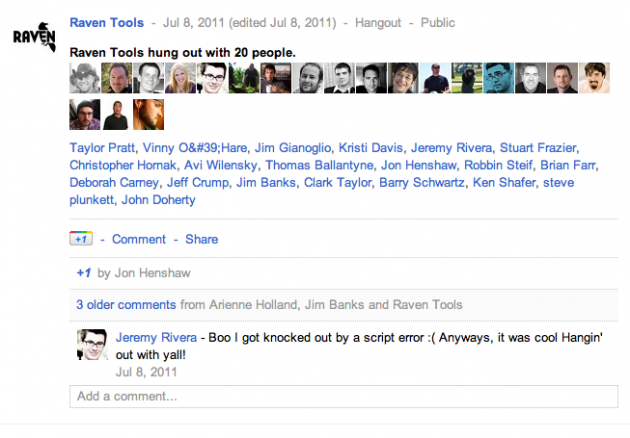 How a Google Hangout posts in the Google+ stream