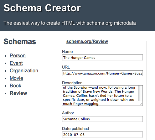 Schema.org Review Form