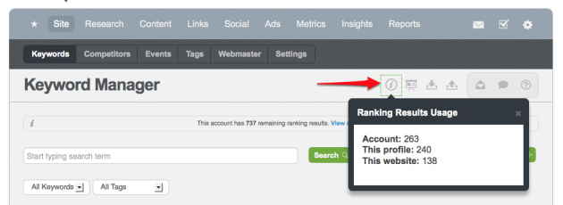 Raven Internet Marketing Tools | Ranking Results Usage