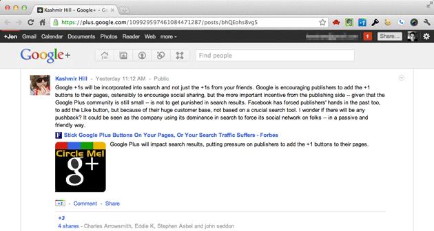 Kashmir Hill on Google+