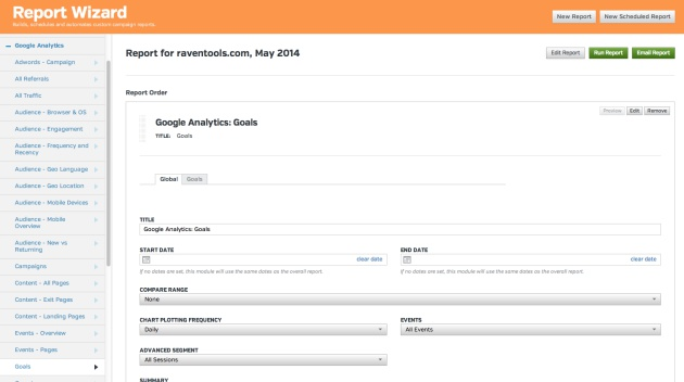 Google Analytics Goals Report Wizard