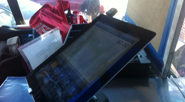 iPad with Square inside of truck