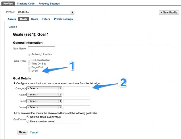 configuring event tracking in google analytics