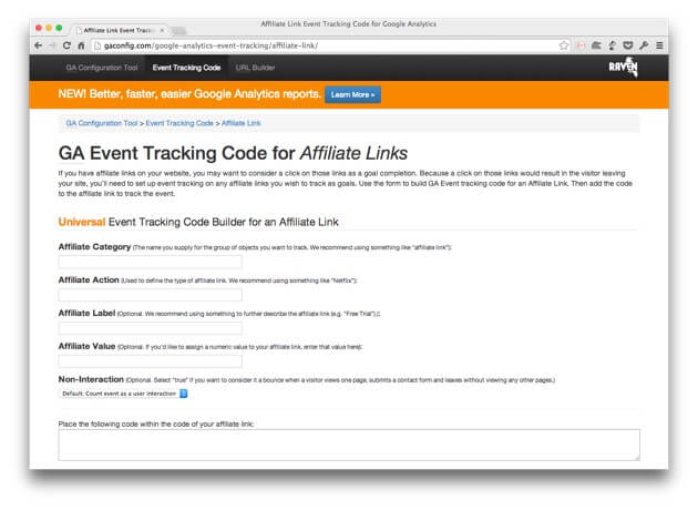 GA event tracking code for affiliate links