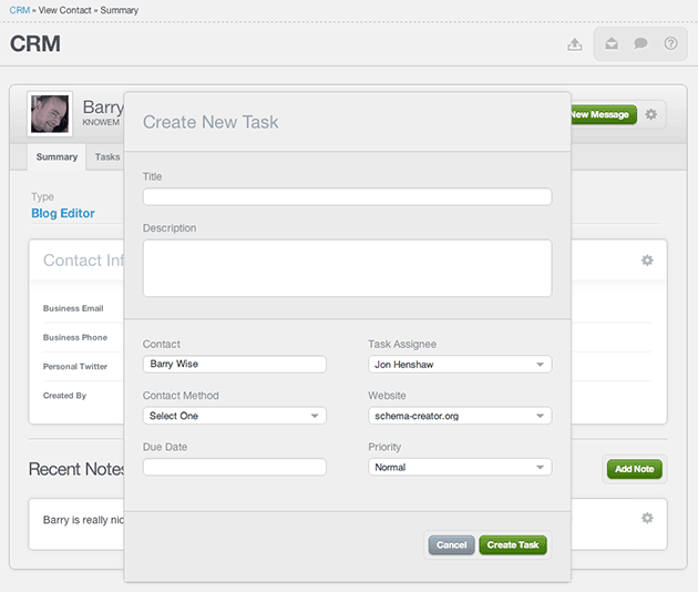 New Task Modal Window