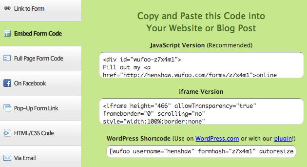Wufoo WordPress Shortcode
