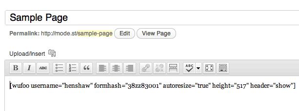 WordPress Shortcode for Wufoo