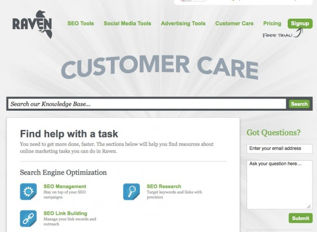 New Raven Customer Care Section