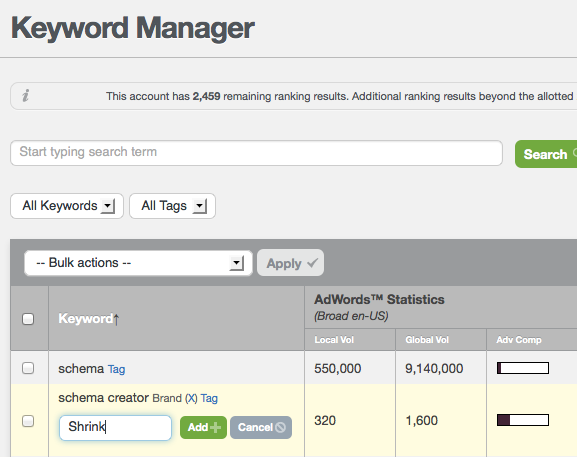 Raven Keyword Manager - Adding Tags