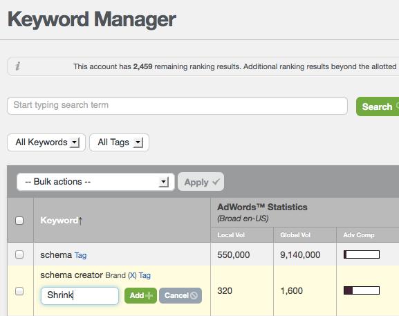 Raven Keyword Manager - Adding Tags