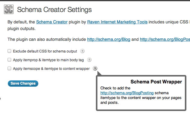 Schema Creator Settings