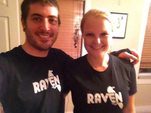 Kristine and friend with Raven swag