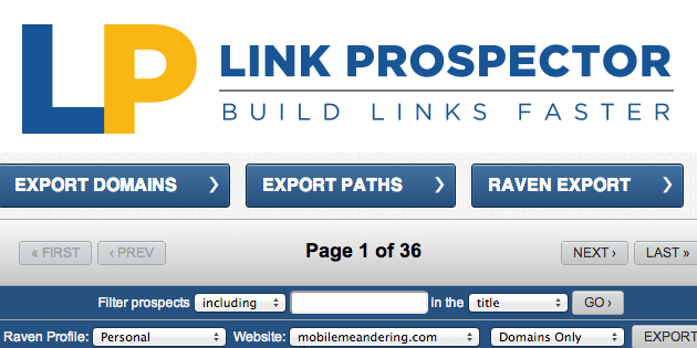 Link Prospector now exports directly to Raven's Link Manager