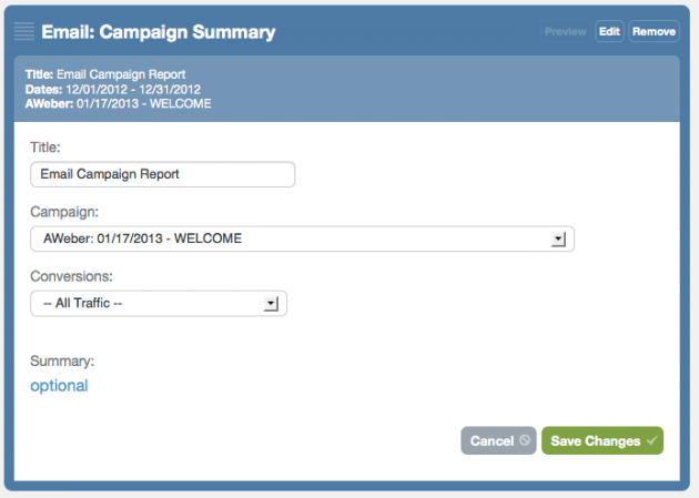 Create an email campaign report