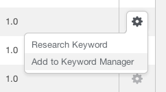 Add to Keyword Manager