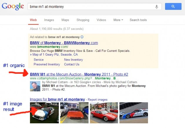 BMW M1 Search - Google SERP
