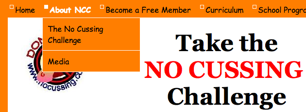 Comic Sans font on No Cussing website menu