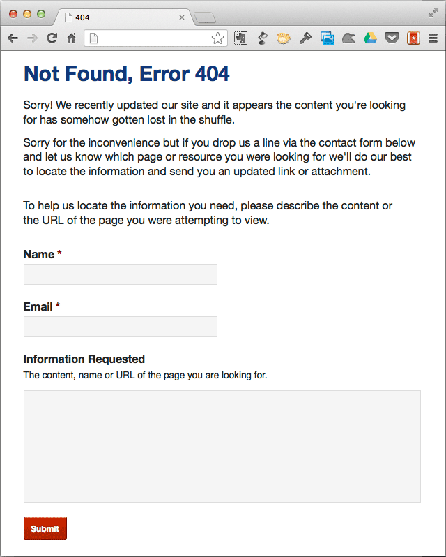 404 Page with Contact Form