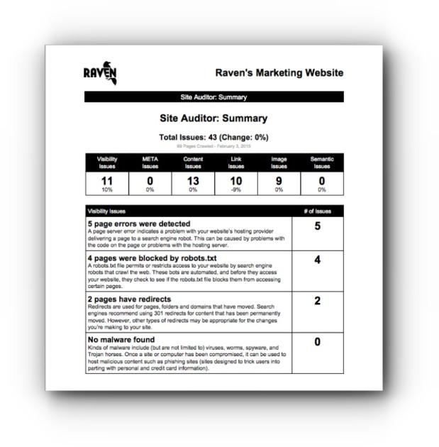 Website Auditor Summary Report