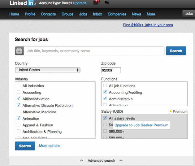 Linkedin Example - Navigation through filters