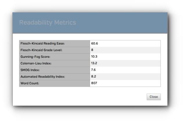 Readability Metrics