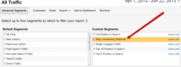 Google Analytics - advanced segment