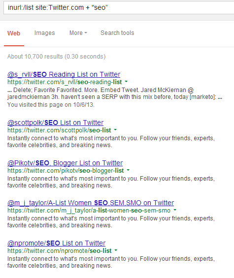List of twitter posts in SERP