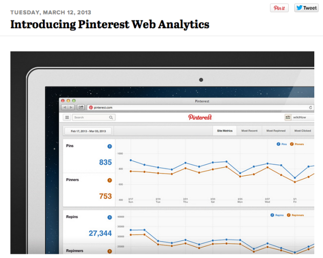 Pinterest adds analytics