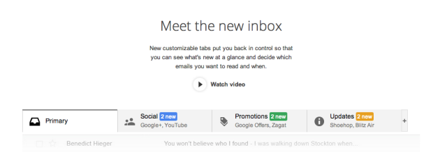 Gmail unveils new tabbed inbox