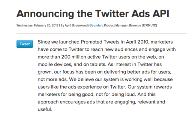 Twitter launches Ads API