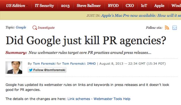 Did Google kill PR? Um, no
