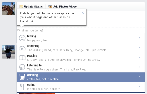 Emoticons and activities come to Facebook statuses