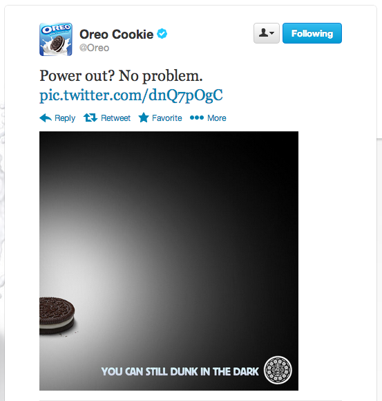 Oreo's timely Super Bowl tweet