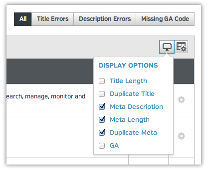 Display options in site auditor