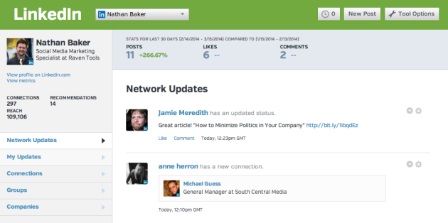 Raven Tools LinkedIn screenshot