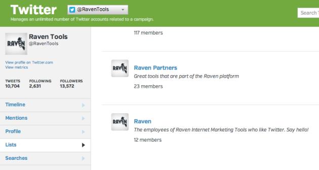 Raven Twitter lists